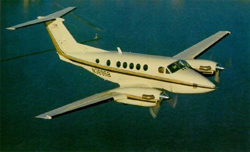 The Beech King Air B200 twin-turboprop transport and utility aircraft.