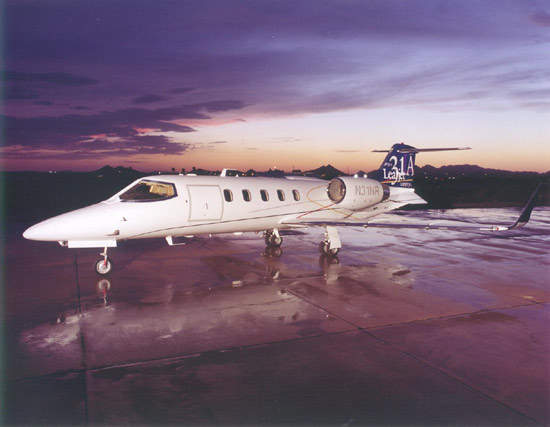 The Learjet 31A can carry seven passengers at a cruise speed of 845km/h.