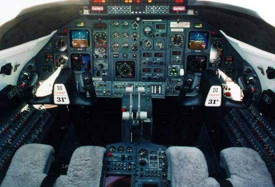 The Learjet 31A cockpit is fitted with a Honeywell digital avionics suite.