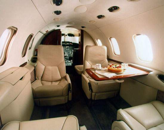 The cabin of the Learjet 31A.