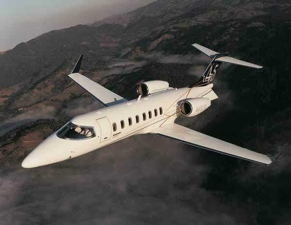 The Bombadier Aerospace Learjet 45 nine-seat super-light business jet.