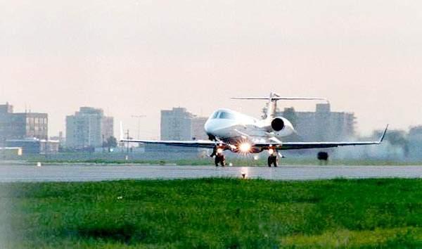 The Learjet 45 taking off.
