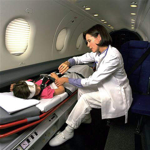 For Medevac, the cabin is fitted for two or three stretcher patients plus medical attendants.