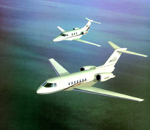 The Premier 1 with the Hawker 4000 (previously known as the Hawker Horizon) in the foreground.