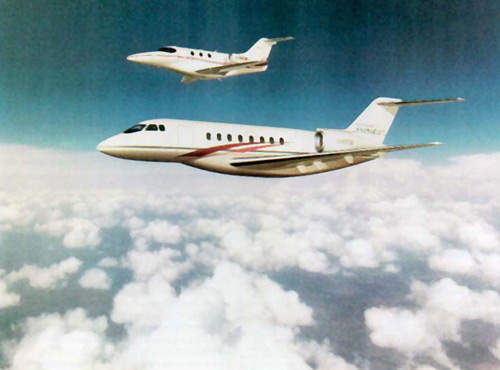 The six-passenger entry-level Premier 1, shown alongside the Hawker 4000 (previously known as the Hawker Horizon - foreground).