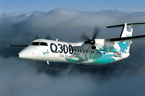 The Dash 8 Q300 regional airliner can seat up to 56 passengers.