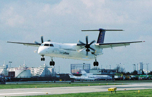 The Q400 landing at London City Airport.