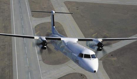 Q400 taking off.