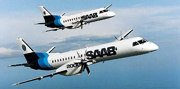 The Saab 2000, in the foreground, is a larger, more powerful version of the Saab 340.