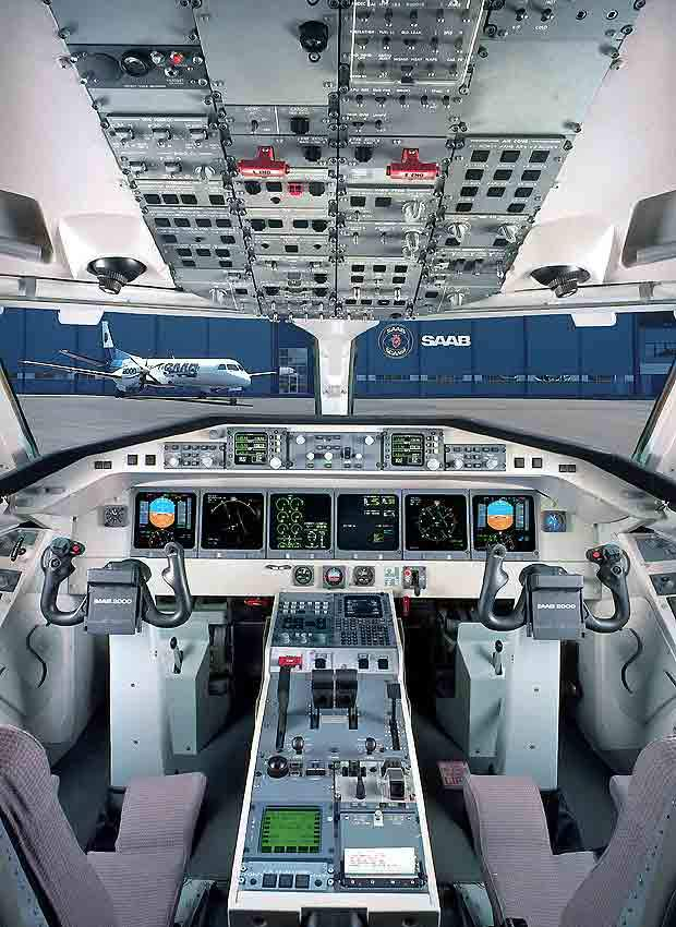 The flight deck of the Saab 2000.