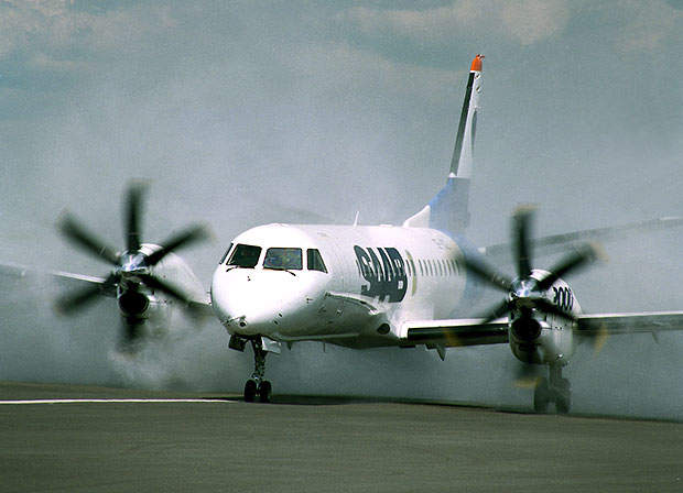 The six-bladed propellers are constant speed with auto-feathering and reverse pitch. Shown here during water testing.