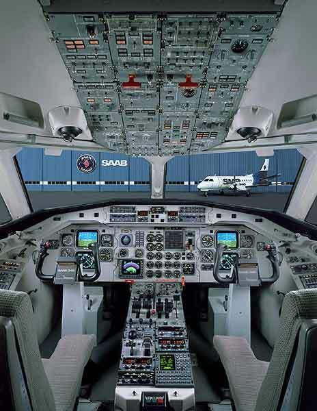The Saab 340B flight deck.
