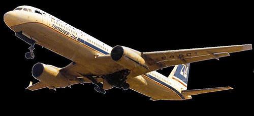 The Tupolev Tu-214 medium to long-range airliner.