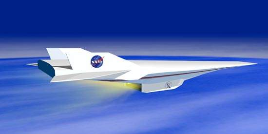 The X-43A flies at speeds of Mach 5 to Mach 10.