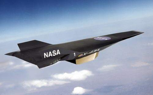 Artist concept of the Hyper X-43A in flight. The X-43A is powered by a supersonic combustion ramjet engine (scramjet) which uses gaseous hydrogen fuel.