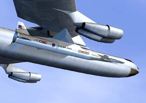 Artist concept of the X-43 vehicle mounted on the booster attached to the B-52 aircraft. A B-52 carries the X-43A to an altitude over 40,000ft (12,000m).