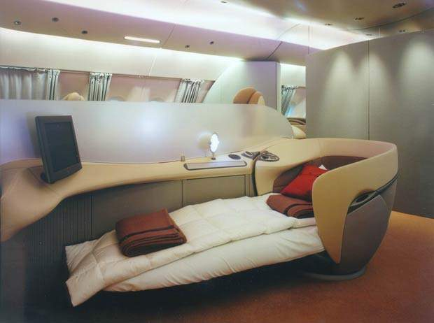 The size of the aircraft also allows for a surprising number of configurations for different airlines, such as these luxury beds.