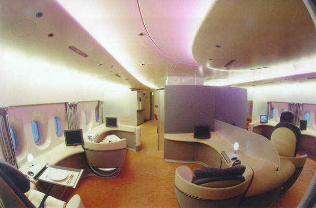 The twin-deck widebody of the roomy A380 means some airlines have requested onboard showers, an office, a children's play area, a gym, a bar, shops, a smoking area and a mini casino.