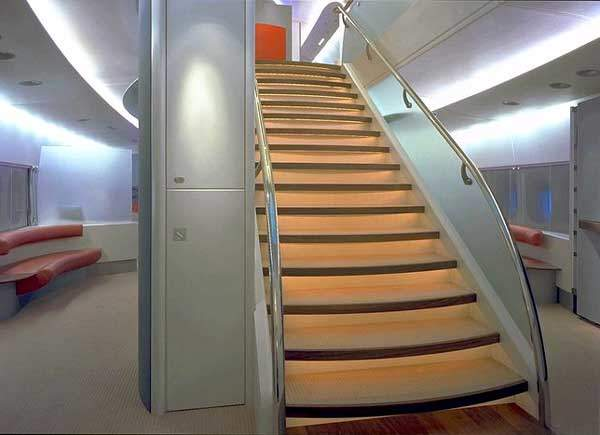 Stairs between the upper and lower decks.