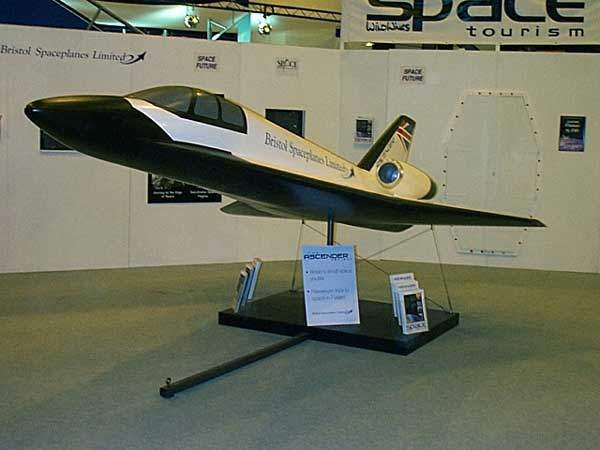 A model of the Ascender on display. The system is designed to massively cut the cost of space travel.