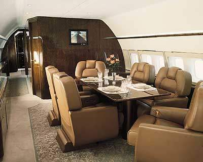 The BBJ2 includes a dining room and executive offices.