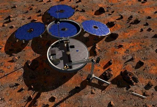 With a landed mass of less than 30kg, Beagle 2 represented the most ambitious science payload to systems mass ratio ever attempted.<BR>All rights reserved by Beagle 2.