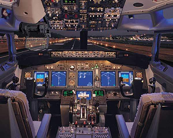 The Boeing Business Jet (BBJ) glass cockpit is based on that of the Boeing 777.