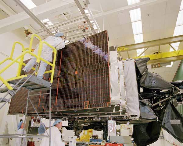 A Boeing 702 satellite being prepared. This was to be used for digital radio broadcasting.