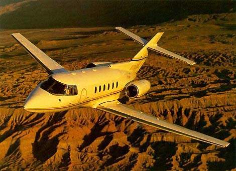 The Hawker 800XP extended performance mid-size business jet.