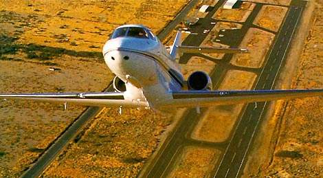 The Hawker 800XP taking off.