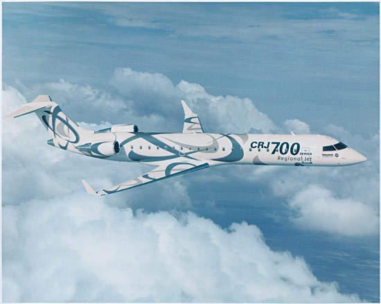 The Bombadier CRJ700 regional jet.