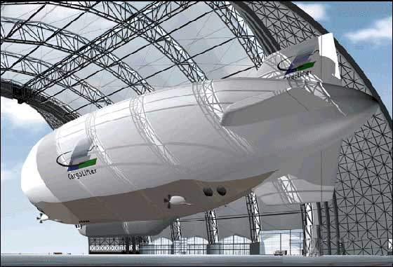 The CargoLifter AG CL 160 super-heavy lift cargo airship was designed to transport very heavy objects more economically, being able to deliver its payload directly to the desired 'drop off' point.