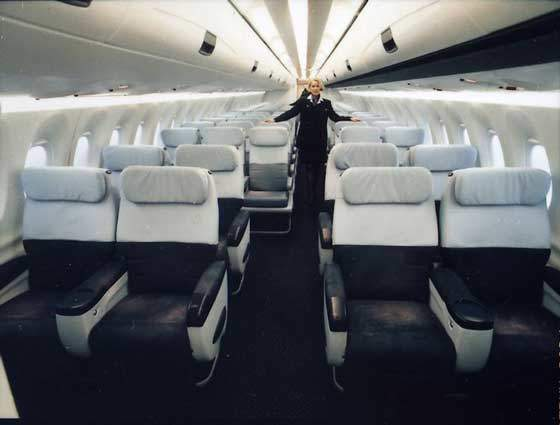 Interior of the Fairchild Dornier 728 which has a capacity of 70-75 seats.