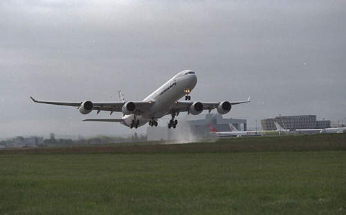 A340-600 taking off on its inaugural flight on 23 April 2001.