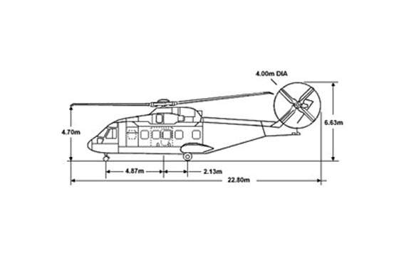 Technical drawing of the AW101 helicopter: side elevation showing dimensions.