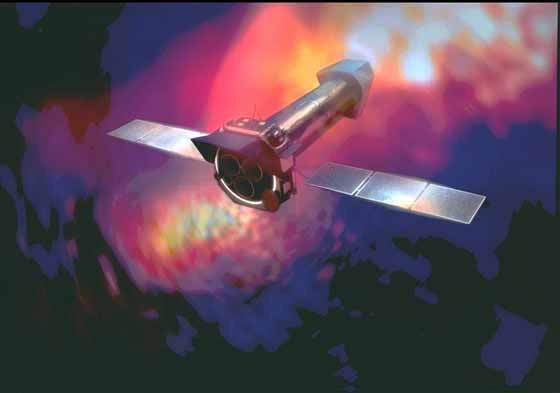 An artist's impression of the XMM in space.