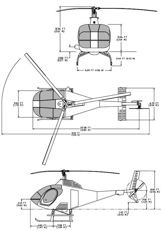 Scale drawing diagrams of Schweizer's Model 333 light helicopter.