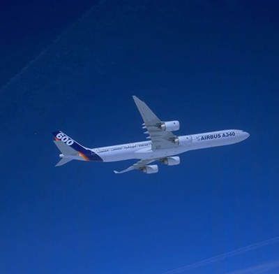 First flight of the A340-600, the largest of the Airbus jetliners.