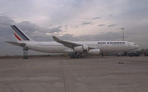 A340-300 operated by Air France, on the ground.