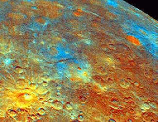 Variations in the colours of rocks lying in different craters, shown here in enhanced Mariner 10 images, suggest variations in composition. This is one of the things that the Messenger Mission will study.