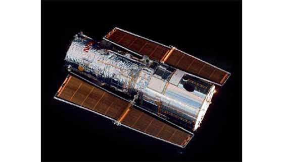 Hubble satellite in orbit.