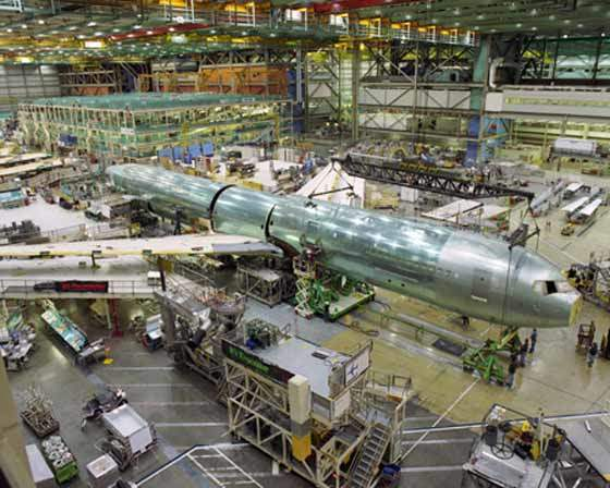 Boeing 767-400ER airframe assembly.