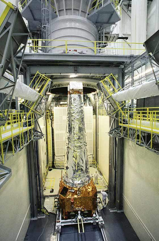 Chandra X-ray telescope is put in a vacuuum chamber