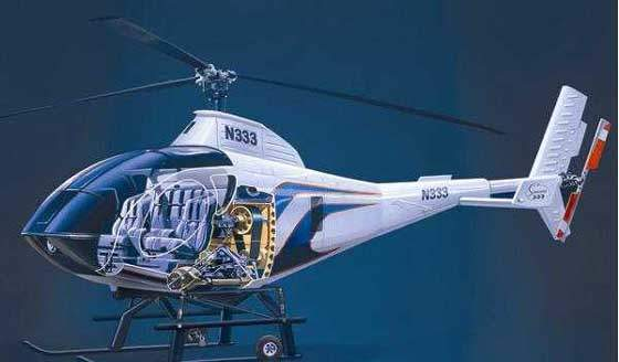Cutaway diagram of the inner mechanical structure of the Model 333 helicopter from Schweizer Aircraft.