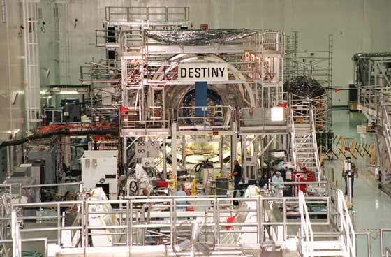 The Destiny space laboratory at the Kennedy Space Centre (KSC).