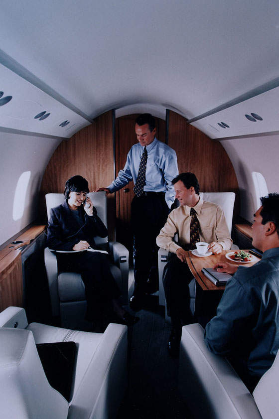 Interior of Bombardier's Challenger 300 business jet for executive and corporate business travel.