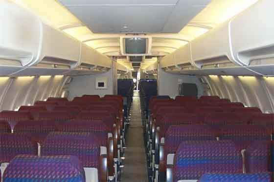 Interior of the Boeing 757-300 with 243 passenger seats.