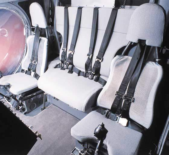 Model 333 light helicopter's cockpit seating arrangements.