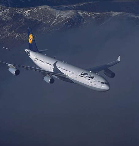 One of the fleet of A340 airliners in service with Lufthansa Airlines of Germany.