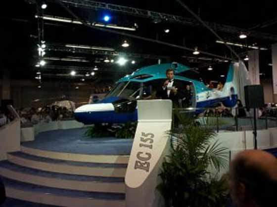 The launch of Eurocopter's EC 155 model medium-lift twin engine helicopter.